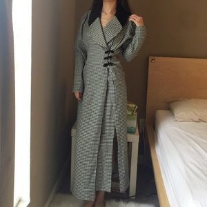 Vintage Checkered Long Trench Coat